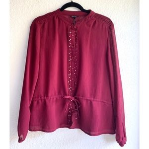 Oleg Cassini Large Sheer Embellished Blouse
